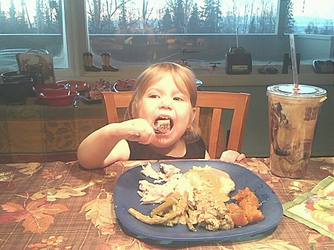 Thanksgiving 2012. Lilah going in for the kill.